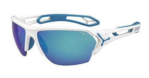 Cébé S'Track - Gafas de sol deportivas, color blanco brillante / azul, talla L