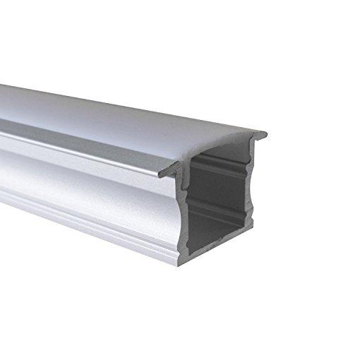 OPAL - 200 cm LED Aluminium Profil EINBAU-GR + 200 cm weiß milchige Abdeckung für LED-Streifen 2m Alu Profile Leisten von Alumino