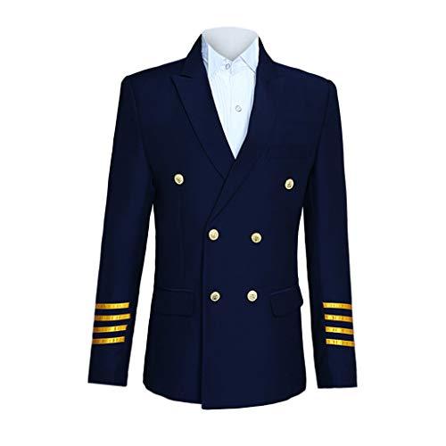 OHQ Modisch Herren 3-Teilig Anzug Weihnachten Party Suits Festliche Anzüge in Normalem Schnitt mit Mustern inkl Anzughosen Anzugjacken Kapitän Kostüme (Marine, L)