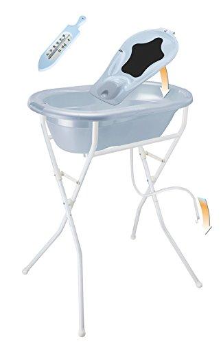Rotho Babydesign Komplett-Badeset mit Wanne und Klapp-Ständer, 0-12 Monate, Babybleu pearl (Hellblau), TOP ideale Badelösung, 21036010301