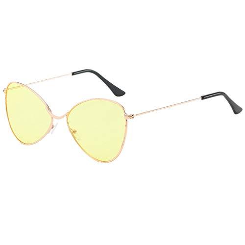 fazry Damen Herren Sonnenbrille, halbrund, polarisiert, Vintage Eyewear Gr. Einheitsgröße, gelb