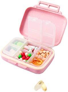 XINHOME Reise-Pillendosierer für Medikamente und Medikamente zur Erinnerung, tragbare Tasche, 6 Fächer, für Reisen, Vitamin-Organiser, Pillendose