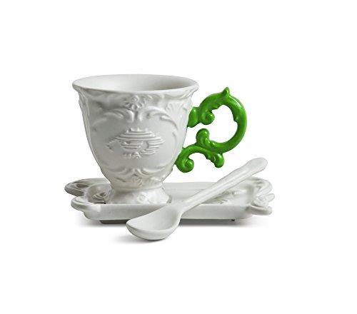 Set da caffè seletti tazzina vassoio e cucchiaino i wares idea regalo manico verde