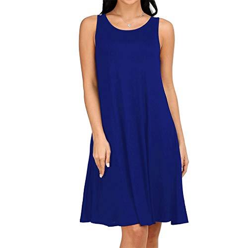 Clacce Kleid Damen Sommerkleid Freizeitkleid Shirtkleid T-Shirt Bluse Tunika Kurzarm Leger Langes Locker Kleider