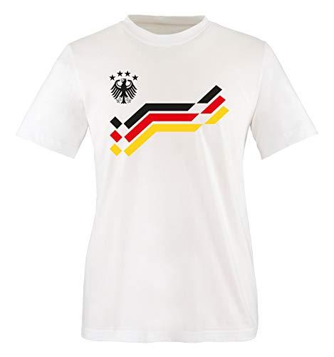 EM 2016 - Deutschland - Retro - Trikot - Kinder T-Shirt - Weiss/Schwarz Gr. 86-92