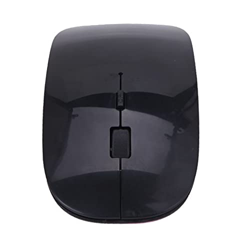 HDE Ultra-Thin Wireless Mouse 2.4GHZ Ergonomic Candy Colored Optical Mouse with USB Nano Receiver and Adjustable DPI Switch (Black)