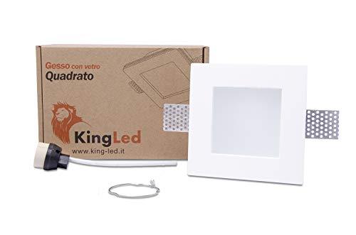 KingLed - Portafaretto da Incasso In Gesso Ceramico Quadrato Con Vetrino Opalino per Faretto Gu10 e Mr16 con Portalampada G-Shock Professionale Dimensione 120x120x62mm Cod. 1425