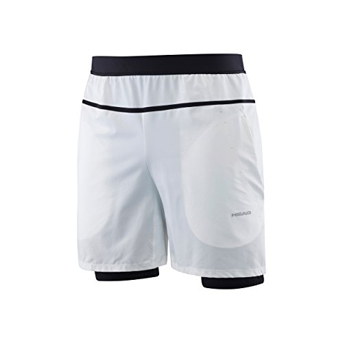 HEAD Herren Oberbekleidung Performance Couture 2-in-1 Shorts, Weiß, XL
