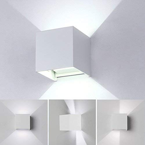 12W LED Wandleuchte Innen/Aussen Modern,Wandlampe mit einstellbar Abstrahlwinkel Design Wasserdichte IP 65 LED Wandbeleuchtung 6000K Kaltweiß (Weiß) -