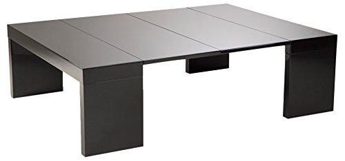 Soliving GENIUS Table Basse Extensible 2 Allonges, Autre, Noir, 120 x 90 x 35 cm