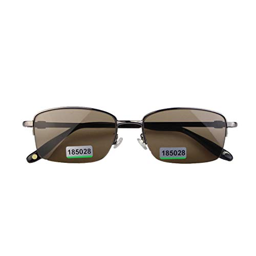 Halb-Frame Driver Sonnenbrille Natural High-Grade Crystal Stone Lens Anti-Blue Glare (Dark Brown)