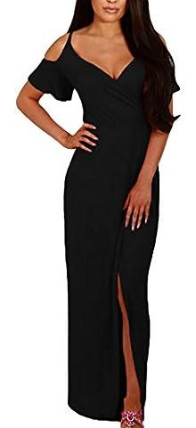 Y-BOA Robe de Soirée Maxi avec Bretelle Épaule Nue Col v Fendue Droite Slim Noir Size3