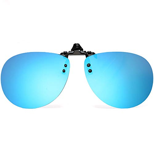 Sonnenbrille Clip On Spring-Bridge Polarisierter Flip Up UV-Schutz Klipp auf Gläsern Brille für Männer Frauen Herrem Damen mit Box (Blau)