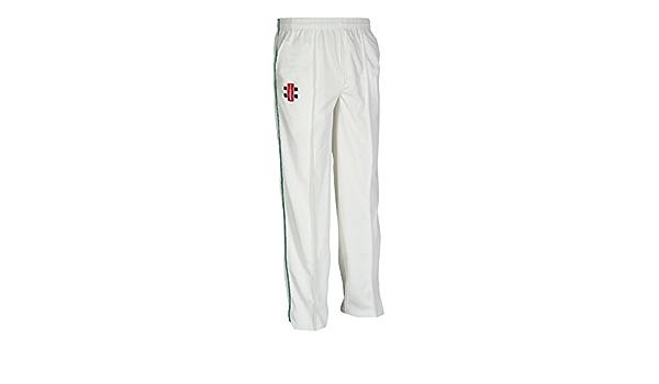 CricketMen/'s gray nicolls cricket trousers white withGreen trim sizeXXL