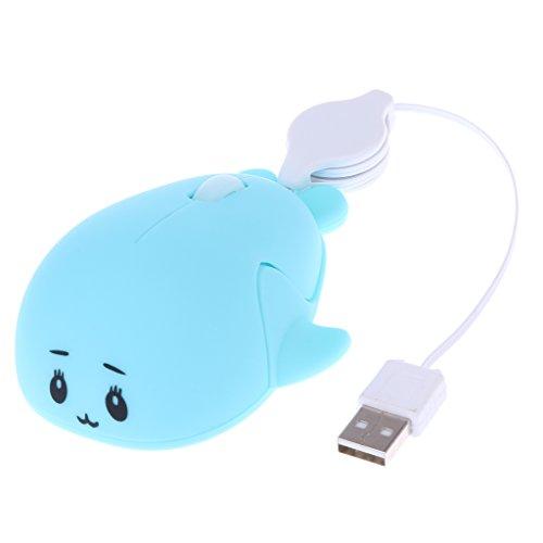 magideal Einziehbares USB-optische Maus mit Scrollrad für PC Notebook K Blau -