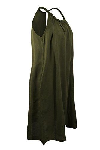 Pure Luxus natürliche Baumwolle Eine Linie lange Maxi Kleid oder unter der Knielänge mit geflochtenen Armband Farben Boot Hals Sommer Strand Kleid tragen lässig Dunkelgrün, mittellang