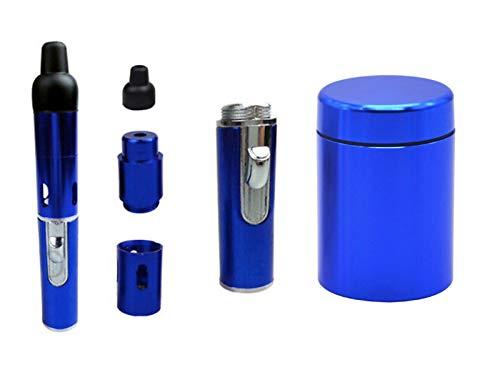 mixmax Vaporizer Verdampfer Duftbrenner für Kräuter Dry Herb Tabak Nachfüllbar Rauchen   Aufbewahrungsbox Luftdicht aus Aluminium Set (Blau)