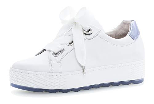 Gabor 26.535 Damen Sneaker,Low-Top Sneaker, Frauen,Business Sneaker,Halbschuh,Schnürschuh,Strassenschuh,sportlich,Freizeitschuh,Comfort-Mehrweite,Optifit- Wechselfußbett,Weiss/Azur,6.5 ()