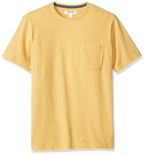 Goodthreads Short-Sleeve Sueded Jersey Crewneck Pocket fashion-t-shirts, Yellow, US S (EU S) (Pocket T-shirts Für Männer)
