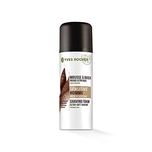 Yves Rocher SENSITIVE HOMME Rasierschaum, sensitive Shaving Foam, für empfindliche Haut, 1 x Pump-Flacon 200 ml - Bio-shave Gel