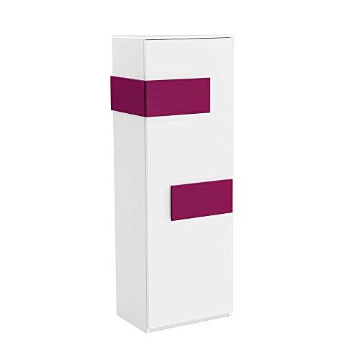 Pharao24 Kleiderschrank in Weiß Pink Schmal Türanschlag Links (Rechtsseitig zu öffnen)