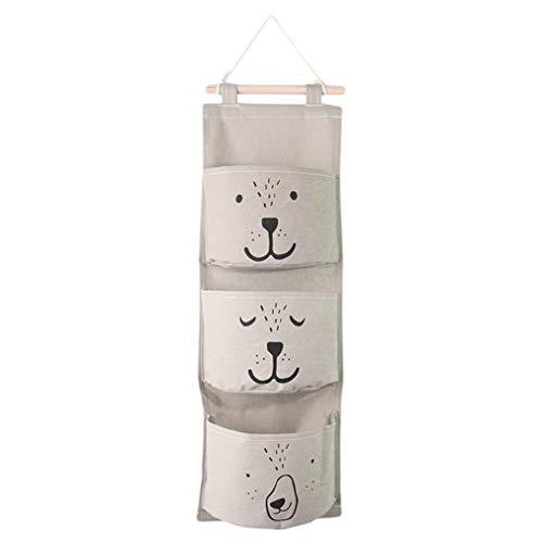 Albeey Süß Ordnungssysteme Hängender Organizer mit 3 Taschen Hängeorganizer Hängeaufbewahrung Aufbewahrungstasche für Kinderzimmer, Schlafzimmer, Tür (grau)