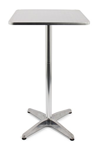 Vanage Stehtisch Bistro-/Aluminiumtisch, höhenverstellbar und eckig, maße: 60 x 60 x 70/110 cm,...