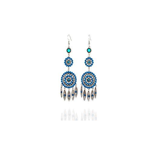 LUXIAOYU Retro Lange Diamant Runde Quaste Ohrringe Weibliche Kreative Ohrringe Europäischen Und Amerikanischen Explosionen Legierung Ohrringe Schmuck,Blue -