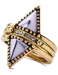 3pcs / Set Joyería Anillos Triángulo época Cristal Decoración Mujeres Color Oro