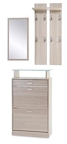 ts-ideen 3er Set Garderobe Spiegel Schuhkipper in Eichenholzoptik Schuhschrank mit Schublade und Ablagefläche aus