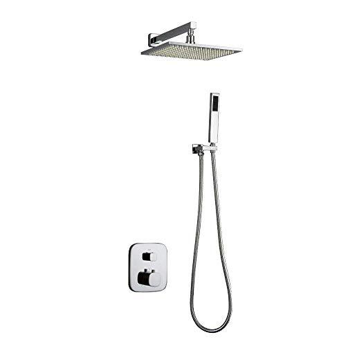 YZ-YUAN Luxuriöses Badezimmer-System mit LED-Anzeige für die Temperatur, Regenmischer-Set mit eckigem Duschkopf, Hand- und Wannenauslaufhahn, verchromtes Finish, 30 cm -