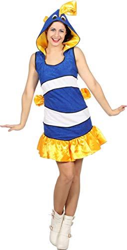 Wilbers Damen Kostüm tropischer Fisch blau-weiß Karneval Fasching Gr.36