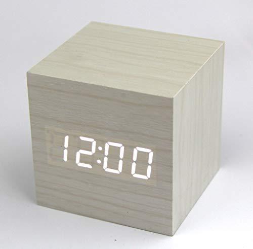 RayLineDo® Neueste Design Mode Weiß Holz Cube Mini mit LED Holz Digital Wecker Time Temperatur Datumsanzeige Stimme und Berührung aktiviert