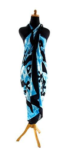 Riesen Auswahl - Sarong Pareo Wickelrock Strandtuch Tuch Wickeltuch Handtuch - Blickdicht - Handbemalt inkl. Schnalle in Rauteform Gecko Hellblau Weiss Batik