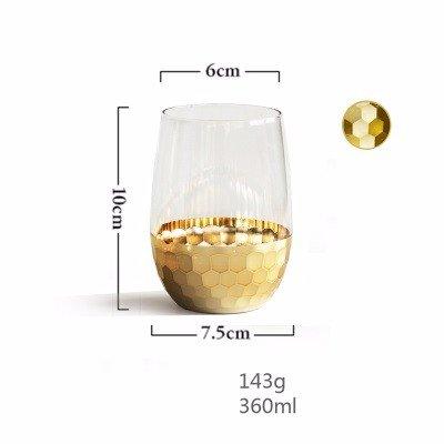 Gold-plated Cup (WANG-shunlida Glass Cup Gold Plated Cups Haushalt Gläser Kaltes Getränk Tassen Saft Tassen Milch Tassen Transparent Fashion Ins,B)