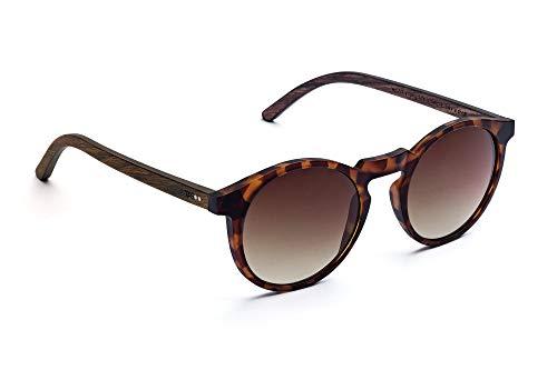 TAKE A SHOT - Schmale runde Holz-Sonnenbrille Damen, Holz-Bügel und Kunststoff-Rahmen, UV400 Schutz, rückentspiegelte Gläser - Emma