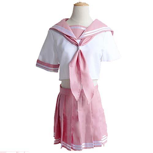 YKJ Anime Charaktere Rollenspiele Pink JK Schuluniform Matrosenanzug Weibliches Halloween Kostüm,Full Set-L (Anime Weiblichen Charaktere Kostüm)