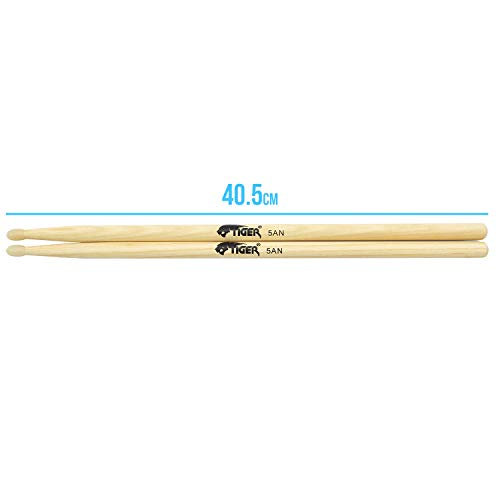 Tiger TDA80-5A Hickory Drumsticks with Nylon Tips - Wooden Drum Sticks, Pair of Nylon Tip Drumsticks
