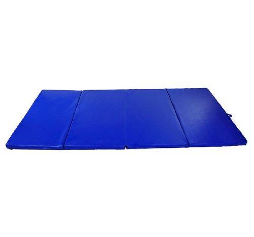 HOMCOM Turnmatte Gymnastikmatte Fitnessmatte Bodenmatte Weichbodenmatte 4 Fach klappbar (blau)