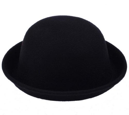 Y-BOA - Rétro Chapeau Melon Vintage - Noir - Laine- Femme/ Homme Modern- Voyage/Plage - Style Fedora Trilby - Casual