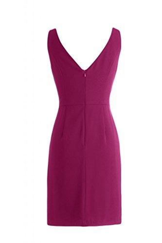 Sunvary elegante, con scollo a V Abito corto da Cocktail, motivo vestito da damigella d'onore Homecoming Gowns Fuchsia