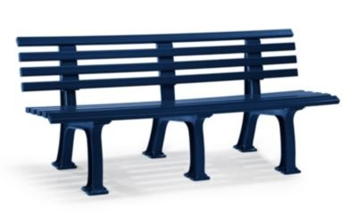 Parkbank aus Kunststoff - mit 9 Leisten - Breite 2000 mm, stahlblau - Bank Bank aus Holz\, Metall\, Kunststoff Bänke aus Holz\, Metall\, Kunststoff Gartenbank Kunststoff-Bank...
