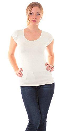 Easy Young Fashion Damen Basic T-Shirt Rundhals Slim Fit Einfarbig Creme