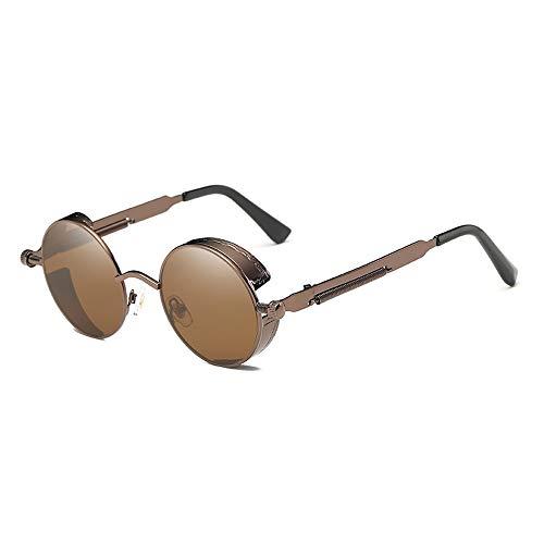 WULE-Sunglasses Unisex New Classic Steampunk Sonnenbrille Europa und die Vereinigten Staaten Runde reflektierende Brille Retro Fashion Unisex UV400-Schutz Brown Frame Brown Lens
