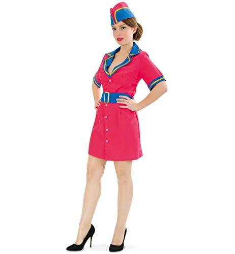 KarnevalsTeufel Damenkostüm Flugbegleiterin Pink & Fly 3-TLG. Kleid in pink mit Gürtel und Hut Stewardess Verkleidung (42)