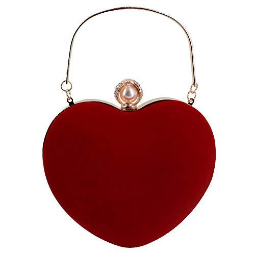 Neue Clutch Handtasche Tasche (Milya Damen Mädchen Neues herzförmiges Design Mode Einfachen Samt Velour Stoffbeutel Clutch Handtasche Umhängetasche kleine Tasche Rot)