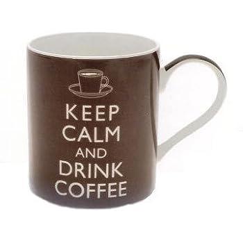 Keep Calm and Drink Coffee Mug - Perfect Novelty Fine Bone China Mugs for coffee - Ideal Office Mug for work mates - Coffee Mugs present for Coffee Lovers - Ceramic Coffee cups mug 350 ml matching Coffee Mugs