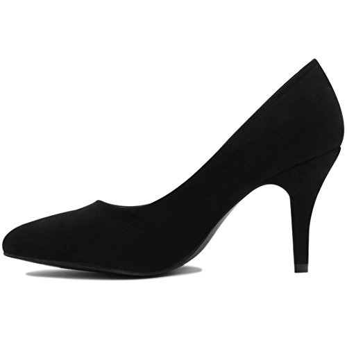 Allegra K Femme Bout Pointu Aiguille Talon Moyen Classique Chaussures Noir