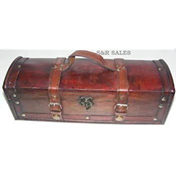 Rustic Hand Crafted Antique Look Wooden Long Pirate Treasure Chest Trinket//Storage Box with Handle Approx Length 35cm by sd