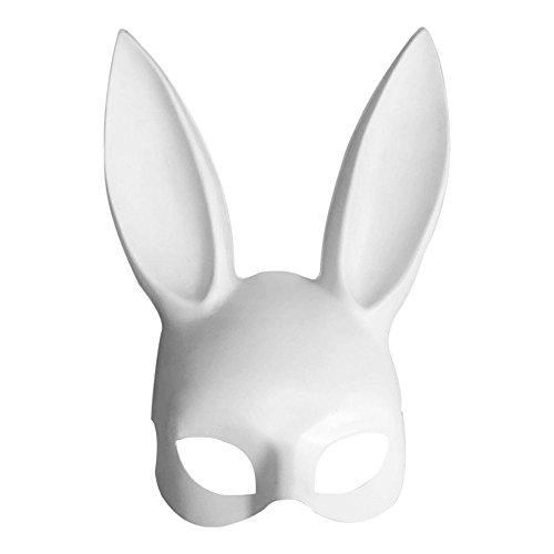 y Pp Kaninchenohren Maske Schwarz Weiß Halloween Dekoration Weiß ()